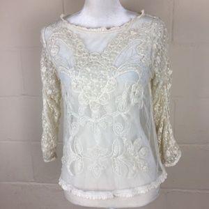 Sundance boho lace sheer blouse top small